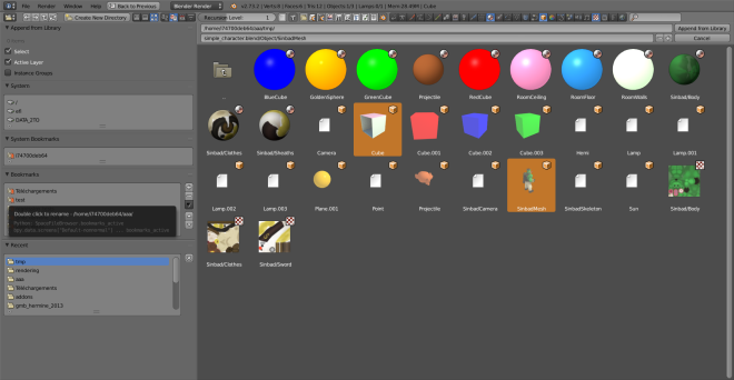 An 'Append' file browser with two blender files showing all their materials, objects and textures. Note the renamed bookmark on the left too.
